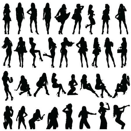 girls silhouette set in black color on white backgroud Векторная Иллюстрация