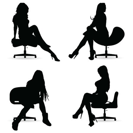 girl silhouette in black sitting on the chair  イラスト・ベクター素材
