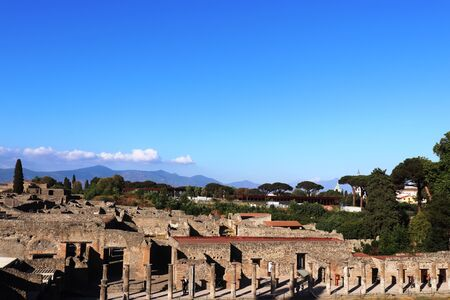 Ancient city of Pompeii, ruins panoramic view. Pompei Italy