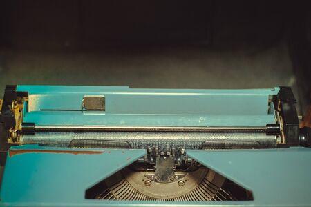 Vintage retro old scrathed metal typewriter upper part. Copyspace. Close-up Stock fotó