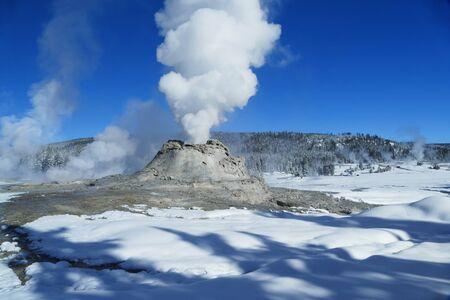 Castle Geyser eruption, winter in Yellowstone National Park