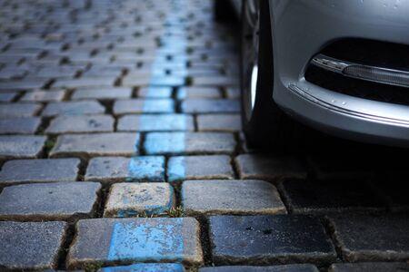 City centre blue zone parking line marked on street road, Prague, Czech Republic