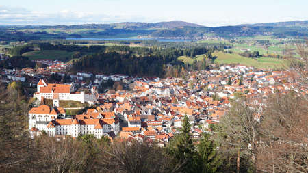 Aerial panoramic cityscape view of Medieval town Fussen, Bavaria, Germany