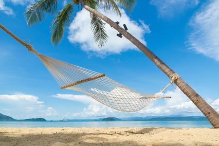 beach scene: Beach stretcher on the beach Stock Photo