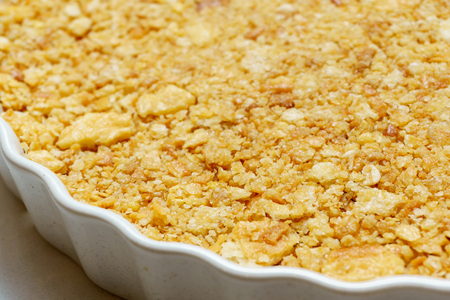 close up of selective focus cracker crust in the circle dish Stock Photo
