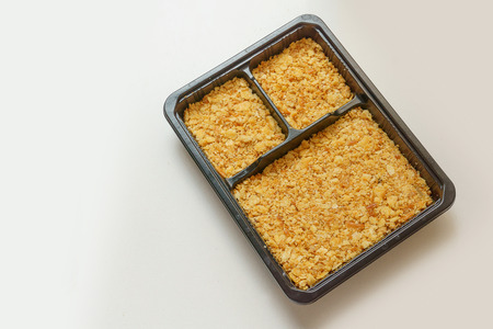 crust: cracker crust in the square box Stock Photo