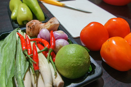 plactic: Selective focus to foregroung in preparation raw materail to cooking Thai food