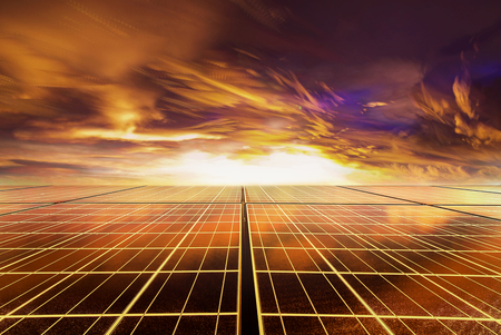 Solar cell panel with Drametic sky at sunset time  by time stack technic Stockfoto