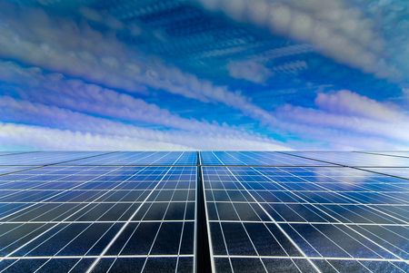 Solar cell panel with Drametic sky by time stack technic Stock Photo