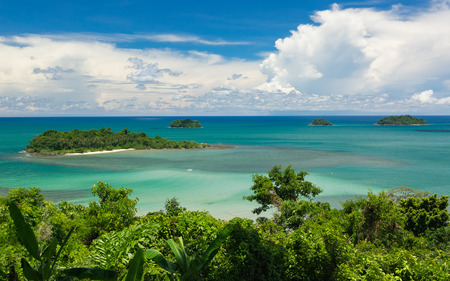 Beatiful color of the Sea , Thailand Sea from Chang island View point Banco de Imagens