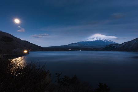 Beautiful Fuji mountain with cold weather after sun down at lake side