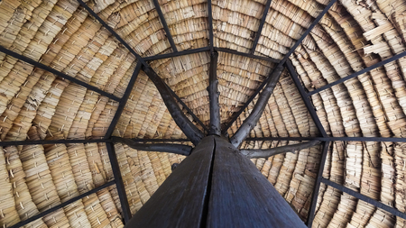 Under the wooden Parasol In Tropical Beach
