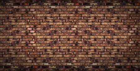 Old brick wall. Horizontal wide brick wall background.