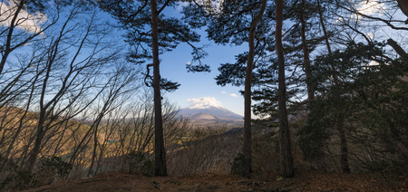 Beautiful Fuji mountain with cold wheather in the forrest along the way to view point