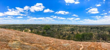 Panorama shot at viewpoint with beautiful blue sky and cloud in Kruger National Park, South Africa.