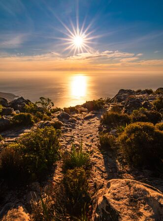 Beautiful sunset on top of table mountain ,cape town , south africa