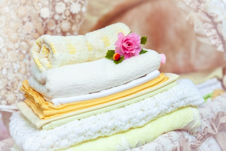 stack of clean towels photo