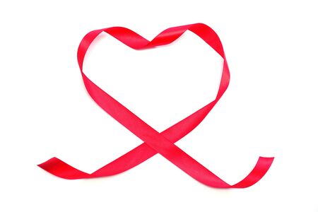 Red heart ribbon isolated on white background Stock Photo