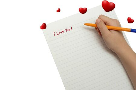 write on paper with pen i love you for valentines day with hearts Фото со стока