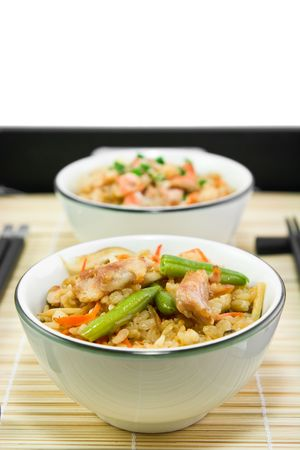 Rice with a chiсken and vegetables in Japanese photo