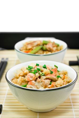 Rice with a fish and vegetables in Japanese photo