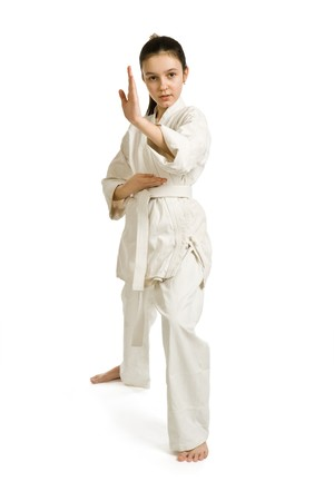 aikido: The girl-fighter aikido in a protection position