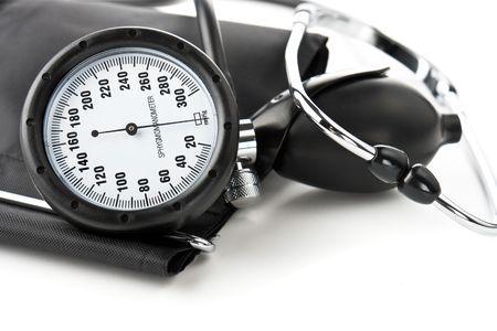 Black tonometer and stethoscope closeup Stock Photo