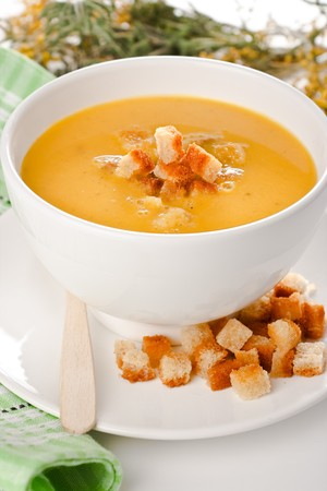 Pea soup with croutons (vertical) Stock Photo - 7852069