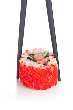 backgruond: Sticks and California roll on the white backgruond