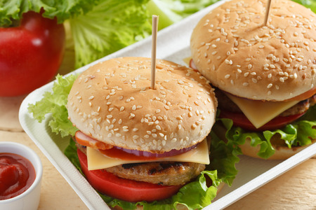 food products: Fresh burgers in a container (close up)