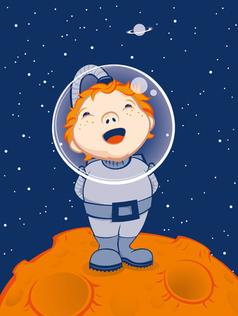 A redhead boy dressed as an astronaut is standing on the moon and looking at the stars and planet saturn.