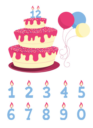 frosting: A big birthday cake with frosting, sprinkles and lighted candles on the top. There are party balloons and numbered candles.