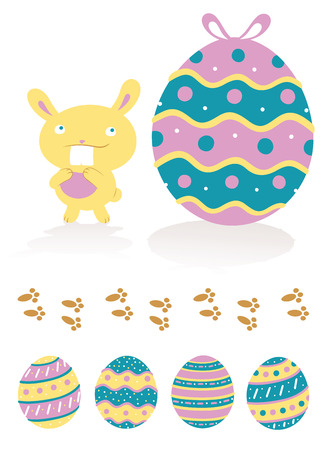 cartoon rabbit: A cute easter bunny with a big tooth is looking up to a big decorated easter egg. There are also a trail of bunny?s footprints and four different decorated easter eggs. Illustration