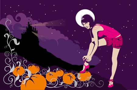cinderella pumpkin: Like a modern princess, a beautiful young woman stands next to a pumpkin plantation with spiral branches. On the background there are: a castle, mountains, clouds, sky, stars and the moon.