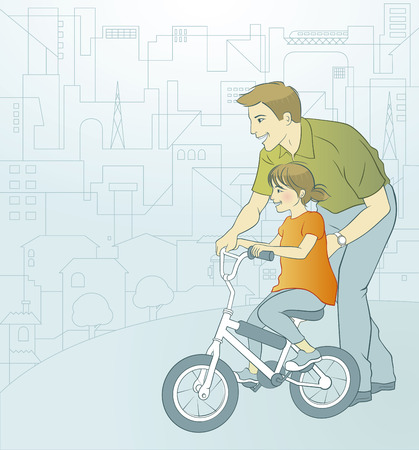 A young father is teaching his little daughter how to ride a bicycle. On the background there is a city landscape. Vector