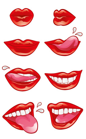 open lips: Eight mouths with red lustrous lips in different positions and performing different actions: blowing a kiss, smiling, licking, biting, showing teeth and tongue.