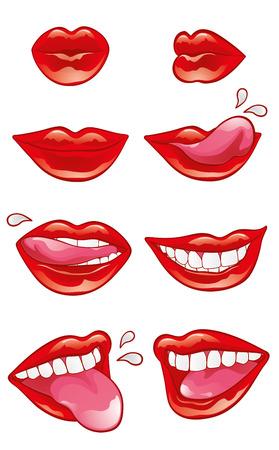 femme bouche ouverte: Huit bouche avec des l�vres rouges brillants dans diff�rentes positions et de la sc�ne diff�rentes actions: soufflant un baiser, souriant, l�cher, mordre, montrant les dents et la langue. Illustration