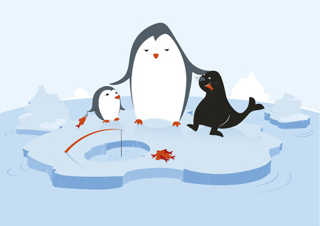One big penguin is feeding a little penguin and a seal with fresh fish in a glacial environment with water and icebergs.