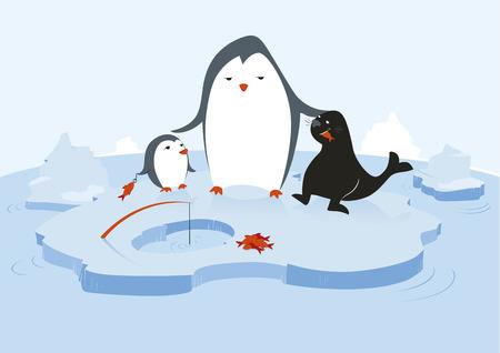 ice fishing: Una gran ping�ino es la alimentaci�n de un peque�o ping�ino y un sello con pescado fresco en un ambiente glacial con agua y t�mpanos.