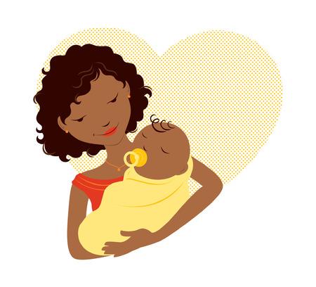 ilustraciones africanas: Madre africana que celebra al bebé delante de un corazón Vectores