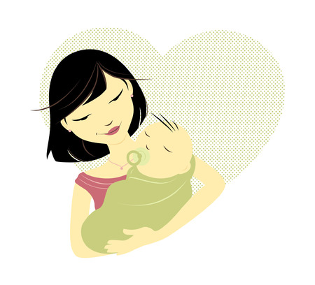 Asian mother holding baby in front of a heart