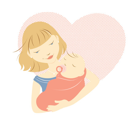 eyes looking down: Blonde mother holding baby in front of a heart