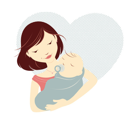 mother and baby: Brunette mother holding baby in front of a heart Illustration