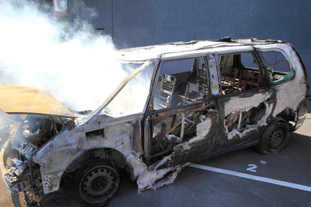burnt out: Burnt out car in fire situation insurance matters.