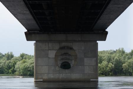 Moscow bridge in Kiev, under the Dniper river Stock Photo