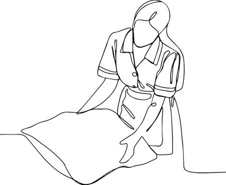 Woman putting stack of fresh white bath clean towels on bed sheet space Close up hands of hotel maid with towels. Vector illustration