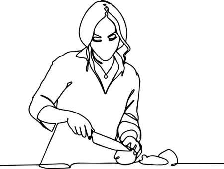 Woman kitchen cut vegetables in salad cooking braekfast minimalism line. Vector illustration