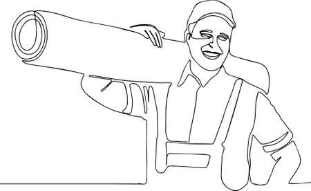 Delivery strong, muscular man professional worker of transportation free space for text male worker removing dirt from carpet Loader man in uniform with a carpet on his shoulder. Vector illustration Vektoros illusztráció
