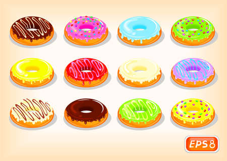 Tasty donuts with a multicolored glaze decorated with sprinkles and caramel. Appetizing confectionery, sweet snack vector illustration.