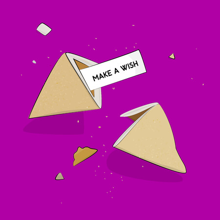 fortune wish cookies chinese lottery cripsy cracked Illustration
